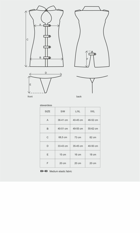 Stewardess 3-osaline kostüüm